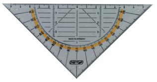 Herlitz Geodriehoek Hypotenuse: 160 mm met griplijst