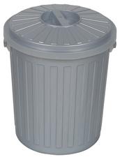 OKT afvaltonne Mini-Tonne met deksel 7 Liter zilver