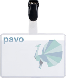 pavo badge congresspeld, met Clip, 60 x 90 mm, transparant